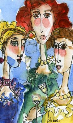 Friends Original ART Three women chatting and by OlivosARTstudio, $20.00