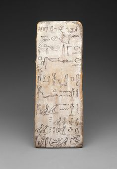 (Period 1 8000 - 2000 BC) **Information** ca 2030 Egypt **Location** Modern Day Egypt **Symbols** Pictograph **Content** Practice **Structure** Pictograph no grammar **Material** Wood **Context** Writing board of an apprentice scribe