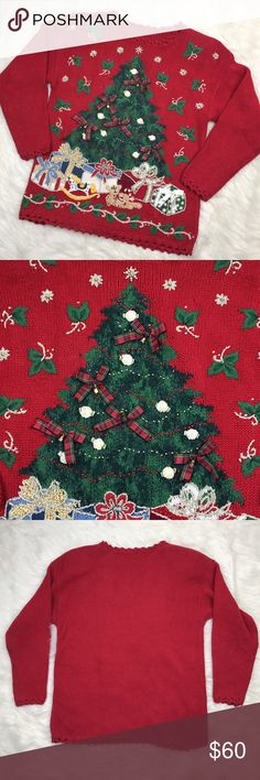 """[Vintage] Knit Tacky Ugly Christmas Sweater Tree S An amazing vintage sweater perfect for a Tacky/Ugly Christmas Holiday Party. Pullover style. Shoulder pads. Beautiful knit Christmas tree filled with presents. 3D beads, bells, and bows embellishments. So fun and festive. No size/fabric label. Fits like a Small/Medium.  Fabric: Feels like a cotton blend Bust: 38"""" Length: 26"""" Condition: Good vintage/pre-owned condition. Vintage Sweaters Crew & Scoop Necks"""