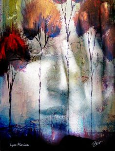 Spirit of Autumn Fire Woman and Tree Landscape Digital Collage