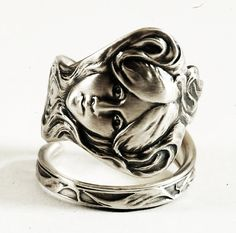 Greek Goddess an Violet in Sterling Silver Spoon Ring by Spoonier
