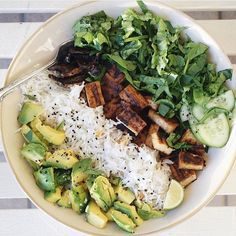 "soulfulhappyness: "" My lunch looked nothing like this (i.e I chucked some stuff in a bowl and called it a day) but I'm literally salivating looking at this teriyaki tofu rice bowl by @tessbegg  #vegan """