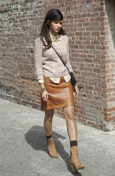 White button up blouse, taupe sweater, camel leather pencil skirt, brown ankle socks, camel ankle boots