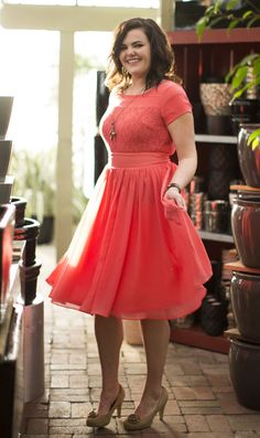 Modest Dress in Coral, This would be a lovely bridesmaid dress that would not make anyone feel uncomfortable or just a dress for church :D