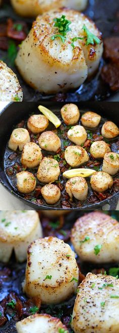 Seared Scallops with Bacon – easy seared scallops with crispy bacon bites in butter and lemon. Succulent, juicy, restaurant quality and much cheaper | rasamalaysia.com