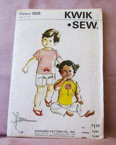 Uncut  Kwik Sew Pattern 698 Toddlers  TShirt by lovelylovepatterns, $3.50