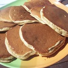 Buttermilk Pancakes Recipe - My Kitchen Magazine~ 1&1/4 cups all-purpose flour 1 egg 1 1/4 cups buttermilk 1/4 cup white sugar 1 teaspoon baking powder 1 teaspoon baking soda 1/4 cup vegetable oil Directions Preheat a skillet over medium heat. Combine all ingredients in a blender. Puree until smooth. Pour batter onto the griddle, to form 5 pancakes. Flip pancakes when edges appear to harden. Cook pancakes on other side for same amount of time until golden brown.