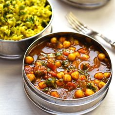 Chickpea Curry and Green Pea Pilau. Chickpea curry with green pea pilau is a sublime curry based on an Indian street food classic with layer after layer of amazing flavours. Chickpea Recipes, Vegetarian Recipes, Healthy Recipes, Delicious Recipes, Tasty, Vegan Curry, Chickpea Curry, Indian Food Recipes, Whole Food Recipes