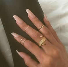 """If you're unfamiliar with nail trends and you hear the words """"coffin nails,"""" what comes to mind? It's not nails with coffins drawn on them. It's long nails with a square tip, and the look has. Sns Nails, Nude Nails, Coffin Nails, Clear Gel Nails, Stiletto Nails, Neutral Acrylic Nails, Plain Acrylic Nails, Toenails, Matte Nails"""