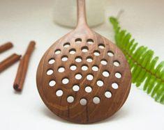 Wooden colander, wooden spoon colander, strainer, skimming spoon, kitchen utensil, walnut, strainer for pasta, cooking