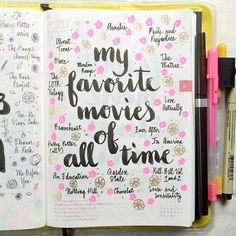 Day 20 of the challenge: favorite movies of all time ❤️ I've done this list before, but I don't mind doing it again Oh, and I picked up a new brush pen at Kinokuniya yesterday. It's a Kuretake no. 8 fountain brush pen and I'm in. Bullet Journal Design, Bullet Journal Writing, Bullet Journal Ideas Pages, Bullet Journal Inspiration, Journal Prompts, Journal Pages, Bullet Journals, Journal Layout, Art Journals