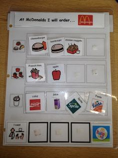 McDonald's Visual ordering board for Kids with Autism-use for ADLs, social skills, and sequencing Repinned by  SOS Inc. Resources  http://pinterest.com/sostherapy.