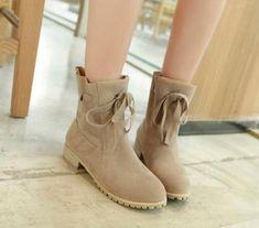 50e1d6902cd Details about vogue Women round toe Low Heels faux Suede lace up Casual  Ankle Boots Plus Size