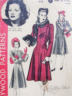 1940 Beautiful Coat Pattern Princess Style With Side Closing Featured Movie Star Lucille Ball Hollywood 535 Vintage Sewing Pattern