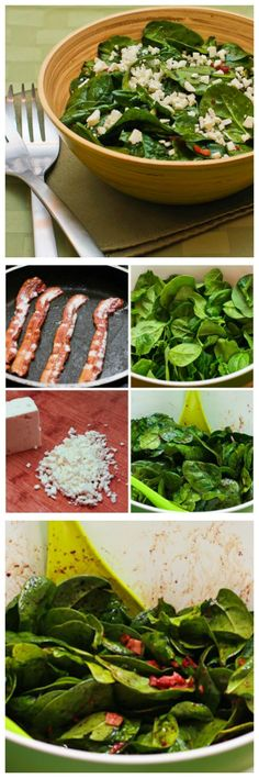 It doesn't take a huge amount of bacon to make this Spinach Salad with Bacon and Feta taste amazing.  And if you haven't had the combination of bacon + feta cheese, you're in for a treat!  [found on KalynsKitchen.com]