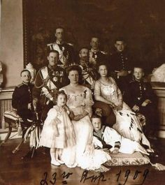 The Grand Duke Konstantin Konstantinovich Romanov of Russia and the Grand Duchess Elizaveta Mavrikievna Romanova of Russia with their children.