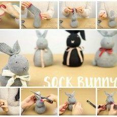 Fare coniglietti pasquali con calzini.