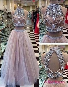 High Collar Two Piece Tulle Evening Dress with Beading A-Line Halter Long Prom Dress PD20185721