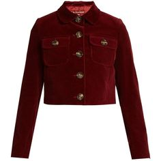 Alexachung Cropped cotton-corduroy jacket (46180 ALL) ❤ liked on Polyvore featuring outerwear, jackets, red cotton jacket, cordoroy jacket, cotton jacket, corduroy jacket and burgundy jacket