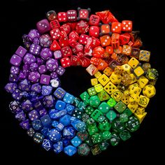Dice Colour Wheel 1 by mikeplonk Taste The Rainbow, Over The Rainbow, World Of Color, Color Of Life, Rainbow Art, Rainbow Colors, Satisfying Pictures, Rainbow Connection, Rainbow Aesthetic