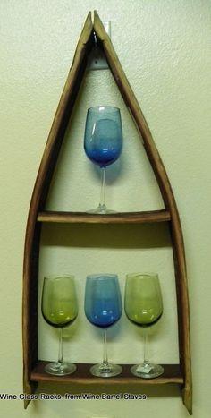 WINE BARREL STAVES Wine Glass ~ Wine Bottle ~ Nicknack ~ Curio ~ SHELF