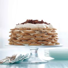 chocolate chip cookie icebox cake.  For the filling: 4 cups cold heavy cream, 8 ounces mascarpone cheese, 2 tablespoons sugar, 1 tablespoon whiskey (8 dozen chocolate chip cookies).  This would be divine with my sister's chocolate chip cookies.