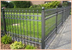 Cool info on Wrought Iron Fences And Gates Iron Fence Gate, Wrought Iron Driveway Gates, Fence Doors, Iron Gates For Sale, Fence Options, Fence Ideas, Wrought Iron Gate Designs, Iron Balcony, Balcony Railing