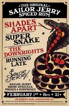sailor jerry Sailor Jerry Drinks, Super Snake, Sailor Tattoos, Henna Body Art, American Tattoos, Classic Tattoo, Vintage Lettering, Flash Art, Junk Drawer