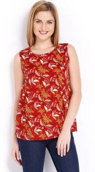 Vishudh Casual Sleeveless Printed Women's Red, Orange Top