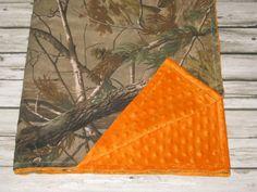 Hunting Camo Minky Back Blanket - Realtree Fabric, Custom Minky Colors - cute!