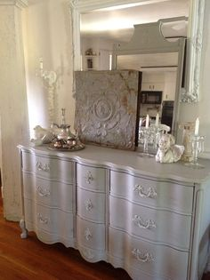 French provincial dresser in ASCP Paris grey By cottage chic furniture.