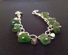 "Genuine dark green sea glass charm bracelet with swarvoski crystals on sterling silver 925 heavy long sort chain 7"" by SeaShards1 on Etsy"