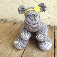 Betty The Hippo By Knots Of Rainbows - Free Crochet Pattern - (ravelry) / isn't she a darling? I love the headband.