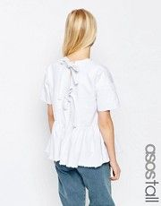 ASOS Tall | ASOS TALL Denim Top with Tie Back and Raw Hem Peplum in White