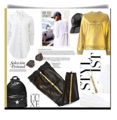 """""""Leather track pants style..."""" by unamiradaatuarmario ❤ liked on Polyvore featuring Industrie, Emilio Pucci, Yestadt Millinery, rag & bone, Golden Goose, Valentino, Givenchy and Christian Dior"""