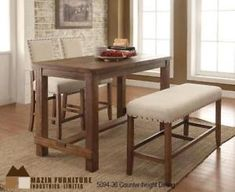 BOXING DAY COUNTER HEIGHT TABLE, 2 STOOLS AND BENCH IN WEATHERED PINE FINISH IN MISSISAUGA - CALL 905-451-8999(BD-5)