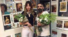 Intervenciones. Victoria Colmegna y Sergio de Loof en el Kavanagh, donde se exhibe su imaginativa muestra.