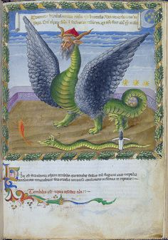 London BL - Harley 1340 f. 8r Human-headed double-headed dragon