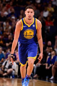 Klay Thompson of the Golden State Warriors celebrates during the game against the Phoenix Suns on April 8 2018 at Talking Stick Resort Arena in...