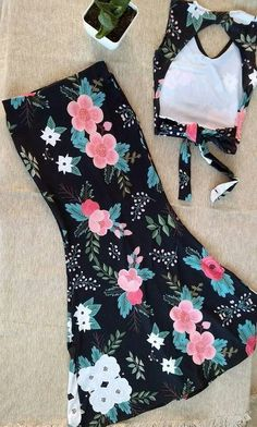 #falda #top #floreado #flowers #negro #black