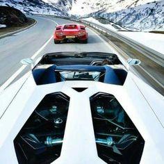 Lamborghinis in the Alps