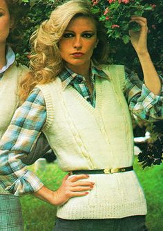 Items similar to PDF Vintage Womens Ladies Sexy Waistcoat & Tank Top Knitting Pattern, Larger Hermit 362 Groovy Boho Classic City Chic Pin Up Glamour on Etsy Easy Knitting, Knitting Patterns, Crochet Patterns, Crochet Tops, Knit Crochet, Hippie Chick, Vintage Knitting, 70s Fashion, Hippy