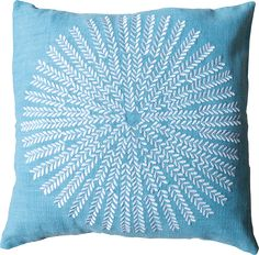 Sundial Embroidered Pillow Cover in Blue, $69.