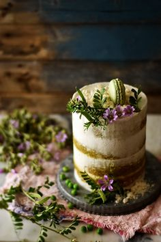 Pea Cake with Coconut Caramel and Coconut Cream Topping