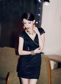 Black Chain V-Neck Dress