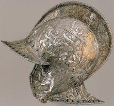 Italian, 16th Century, Helmet (Burgonet) of Philip II, Northern Italy, c. 1560–1565, gold- and silver-damascened steel, fabric, Patrimonio Nacional, Real Armería, Madrid
