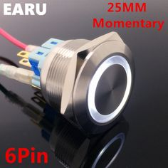6Pin 25mm Metal Stainless Steel Waterproof Momentary Doorebll Bell Horn LED Push Button Switch Car Auto Engine Start PC Power #Affiliate