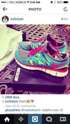 Nike free custom fitness running training shoes. Active wear. Colorfull