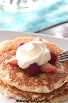 Gluten Free Pancakes with Lemon Whipped Cream & Berries - Amazingly delicious pancakes with homemade lemon whipped cream...