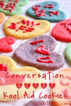 Valentine Converstaion Heart, Cookies Koolaid Cookies Recipe #recipes #cookies